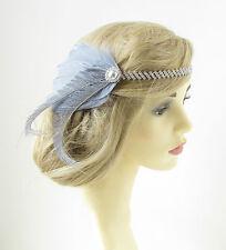 Gris & Plata Pluma diadema AÑOS 20 GENIAL Gatsby Flapper Accesorio para pelo