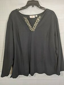 QUACKER FACTORY Women's Plus Black Sequin V-Neck Long Sleeve Stretch Top size 2X
