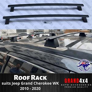 2 x Alloy Black Cross Bars Roof Racks for Jeep Grand Cherokee WK 2010 - 2020