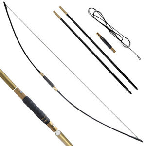 "65"" Traditional English Longbow 25-70lbs Takedown Straight Bow Archery Hunting"