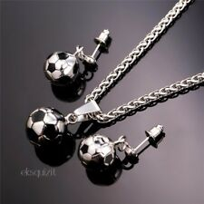 FOOTBALL PENDANT NECKLACE AND EARRINGS SET