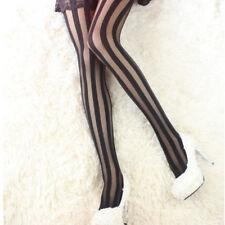 Mujer Seductor Medias Rayas Calcetines Negro Rasgado Pantis Elásticas Medias