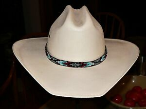 USA-Native American Styled Hand Beaded Hatband on leather. Western Cowboy/Girl