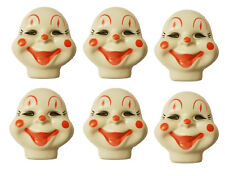 Lot of 6 Medium Clown Celluloid Plastic Doll Masks Faces Craft Doll Making VTG
