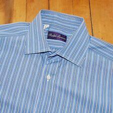 Ralph Lauren Purple Label RLPL White Blue Striped Spread Cotton Shirt ITALY 15