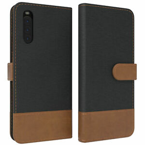 For Sony Xperia 10 II Flip Case Denim cover With Ec Card Slot Faux Leather Black