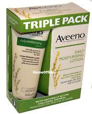 Aveeno Daily Moisturising Cream Lotion 3 x 200ml Moisturises Dry Skin