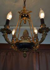 French Empire Chandelier Brass Bronze Ormolu Antique Vintage 4 Light