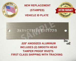 NEW (Stamped) DODGE PLYMOUTH CHRYSLER MORE Vin Tag Data Plate Serial Number ID