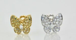 Van Cleef & Arpels White Diamond Yellow Sapphire Butterfly Earrings