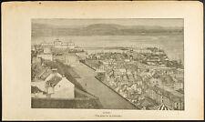 1892 - Gravure vue de la ville de Québec - Canada