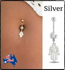 Navel Body Piercing Jewelry Rhinestone Hamsa Hand Charms Bar Button Belly Ring