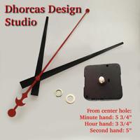 "(#03) Quartz Clock movement kit, 1/4"",1/2"",3/4"", 1"" thread motor & LONG 5"" hand"