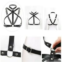 Fashion Adjustable Chest Bust Halter Harness Belt with Metal Chain and O-Rings