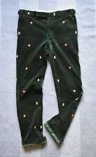 Gentlemans Polo Ralph Lauren Bottle Green Corduroy Embroidered Trousers Size 33