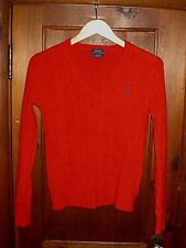 RALPH LAUREN RED CASHMERE V NECK CABLE KNIT PULLOVER SWEATER WOMEN'S SIZE SMALL