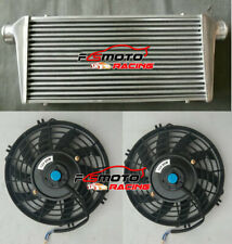 "600x300x76mm 3"" IN/OUTLET 76MM Universal FMIC Aluminum Turbo Intercooler +FANS"