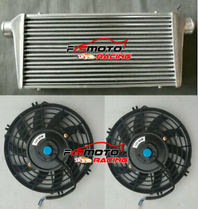"600x300x76mm 3"" IN/OUTLET 76MM Universal FMIC Aluminum Turbo Intercooler + FANS"