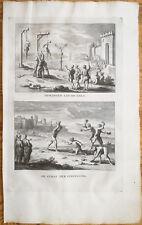 Calmet: Large Folio Print Torture Lapidation Hanging - 1725