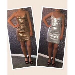 Rosegold / Silver sequin dress. Available in sizes S/M/L (8-12) True to size. Se