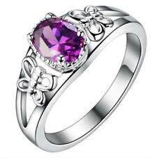 Fashion Women Purple Gemstone CZ Crystal Silver Wedding Ring Jewelry Size 6