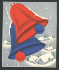 Vintage Christmas Card large Red & Blue Candles Snowy Village Below