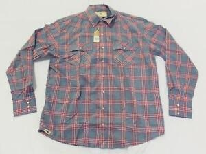 Western Aloha Men's Button Up Palaka Nui Flannel Shirt FR7 Navy/Red Size 2XL NWT