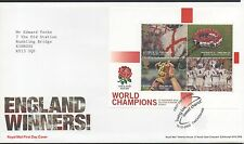 Go 2003 FDC England Victoire rugby ms spécial handstamp Twickenham timbres