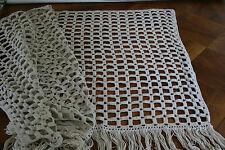 ancien brise bise ,rideau N°121, 166x76cm, dentelle au crochet,franges, panneau