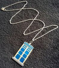 """Large Tardis Necklace On 24"""" Chain Blue Police Box Dr Who Phone Box Charm *UK*"""