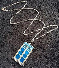 """GRANDE Collana Tardis su catena blu 24"""" Police Box Dr Who Cabina telefonica fascino * Regno Unito *"""