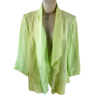 Chico's Size 1 Medium Drape Front High Low Jacket Green Casual Career Light Work