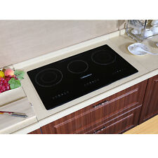 """240V 29.5"""" 3 Burners Electric Induction Hob Smooth Surface Glass Plate Cooktops"""
