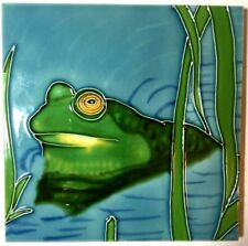 Green Frog And Reeds Decorative Art Tile With Built In Stand 6 x 6 inches