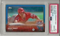 2015 TOPPS OPENING DAY #77, BLUE, MIKE TROUT, PSA 10 GEM MINT, POP 17, L@@K !
