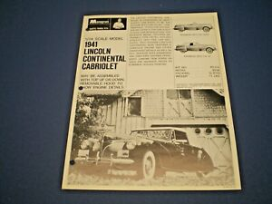 "MONOGRAM Original 1967 single sided Dealer flyer "" 1941 Lincoln Continental """