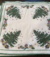 """Set of 5 Vintage Christmas Napkins 16"""" Cotton Christmas Trees, Gifts & Stars"""
