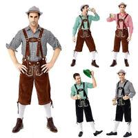 Men Oktoberfest Bavarian Beer Bib Pants Shirt Suit Clothing Halloween Costume