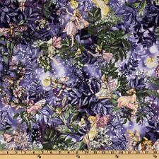 Fabric Night Fairies Purple Metallic Cotton Fat Quarter Quilting Material