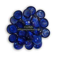 50 Blue Glass Round Pebbles Nuggets Stones Beads for Crafts or Garden