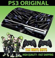 Playstation 3 Negro Púrpura conchas de piel adhesiva Cajón de munición + controlador Pegatinas