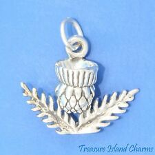SCOTTISH THISTLE 3D .925 Solid Sterling Silver Charm