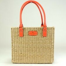 NWT KATE SPADE QUINN WICKER MEADOWSWEET PARK CORAL/STRAW LEATHER FLORAL RARE!