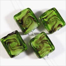 Set di 4 perle in vetro Lampwork Murano Rettangoli 14x16 Verde mm