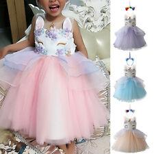 Toddler Girls Unicorn Mesh Tutu Dress Fairy Princess Wedding Party Kids Costume
