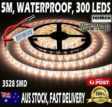 Waterproof Warm White LED Strip Lights 12V 5M 3528 SMD 300 Leds Light + Dimmer