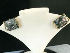 """Coro"" Black Confetti Square Clip Earrings with Gold Toned Metal"