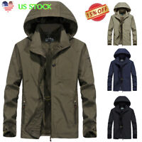 Men Waterproof Windbreaker Zipper Hooded Jacket Casual Light Sports Outwear Coat