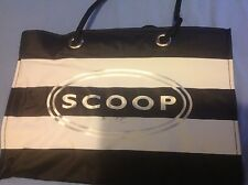 Scoop NYC Vinyl Shopping Tote New Striped Black And White