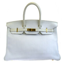 AUTHENTIC HERMES BIRKIN 35 TAURILLON CLEMENCE LEATHER HAND BAG WHITE 783R090